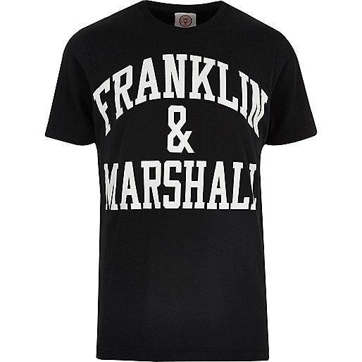 Franklin & Marshall – Schwarzes, bedrucktes T-Shirt