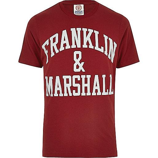 Franklin & Marshall – Dunkelrotes, bedrucktes T-Shirt