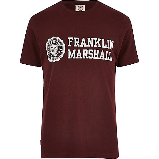 Burgundy Franklin & Marshall logo T-shirt