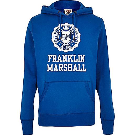 Franklin & Marshall – Blauer, bedruckter Hoodie