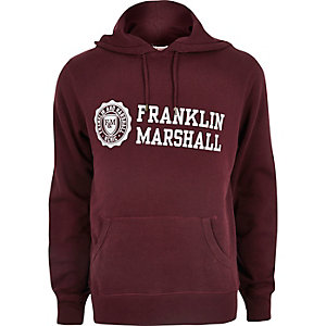 Dark red Franklin & Marshall print hoodie