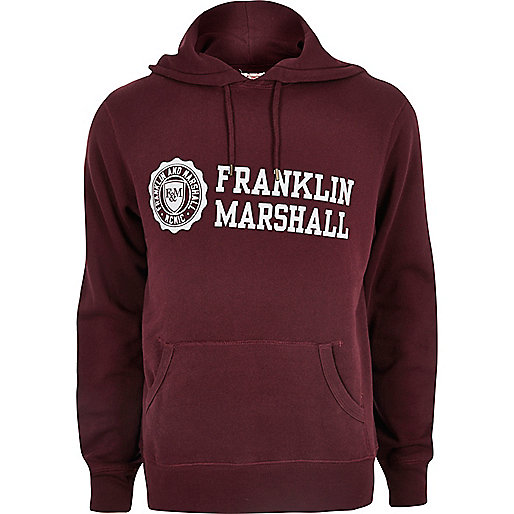 Dark red Franklin & Marshall print hoodie