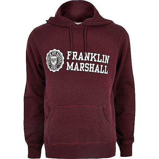 Sweat Franklin & Marshall imprimé bordeaux à capuche