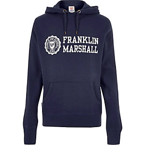 Navy Franklin & Marshall print hoodie