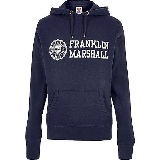 Sweat à capuche Franklin & Marshall imprimé bleu marine