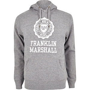 Sweat à capuche Franklin & Marshall imprimé gris