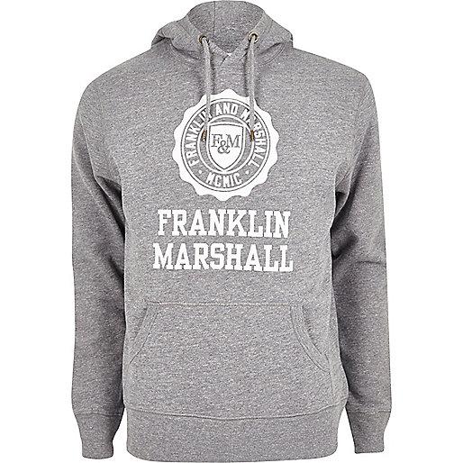 """Grauer Kapuzenpullover mit """"Franklin & Marshall""""-Aufschrift"""