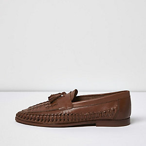 Brown woven leather tassel loafers