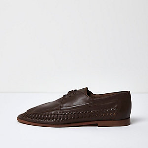 Dark brown woven leather tassel loafers