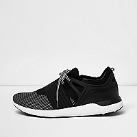Black mesh panel lace-up trainers