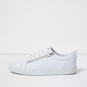 White lace up trainer with zip detail