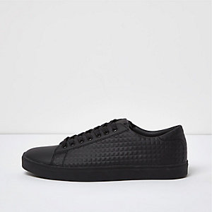 Black textured panel trainers