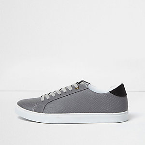 Grey reflective scale effect sneakers