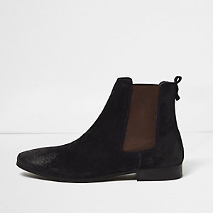 Blue suede tall Chelsea boots