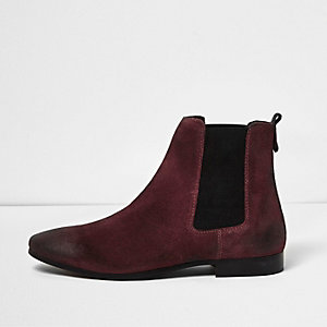 Dark red suede tall Chelsea boots