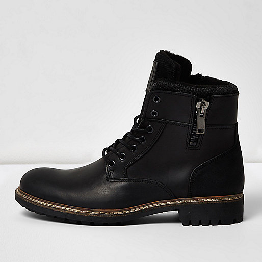 Black leather military boots