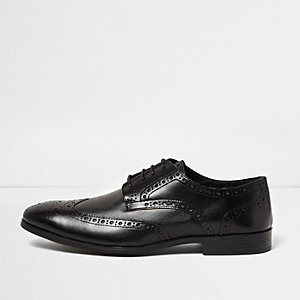 Black leather formal brogues
