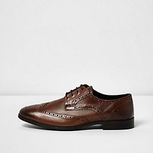 Brown leather formal brogues