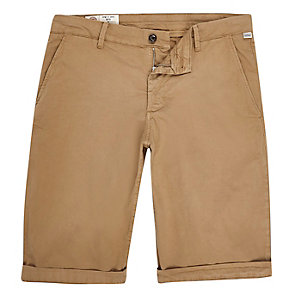 Franklin & Marshall – Steingraue Skinny Fit Shorts