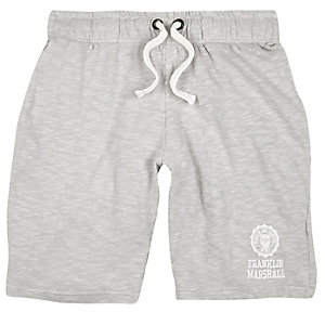 Franklin & Marshall – Graue, bedruckte Jersey-Shorts
