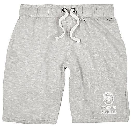 Franklin & Marshall – Graue, bedruckte Jersey-Shorts