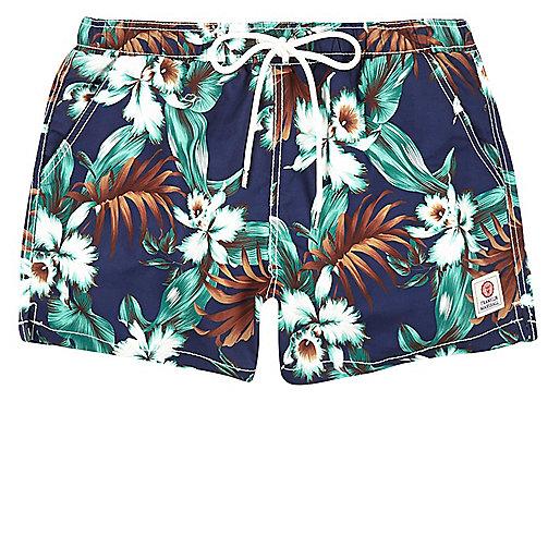 Blue Franklin & Marshall floral swim trunks