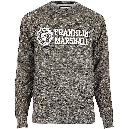 Franklin & Marshall – Schwarz meliertes Sweatshirt