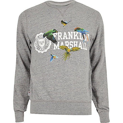 Franklin & Marshall – Grau meliertes Sweatshirt