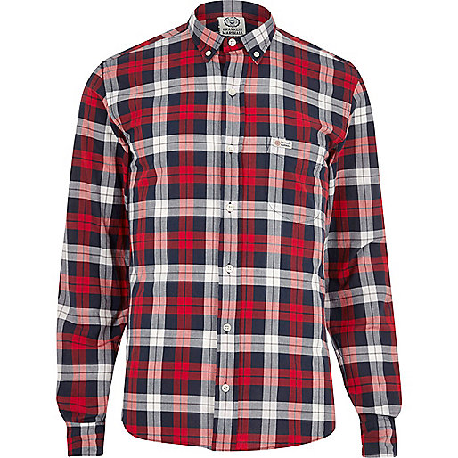 Chemise Franklin & Marshall à carreaux rouge casual