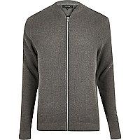 Grey textured knit bomber jacket