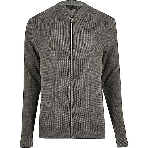 Grey textured knit bomber jacket