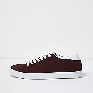 Burgundy lace-up trainers
