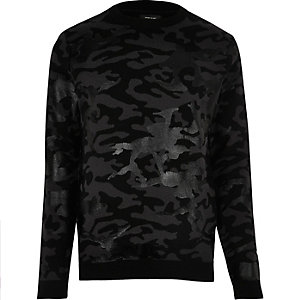 Black foil camo sweater