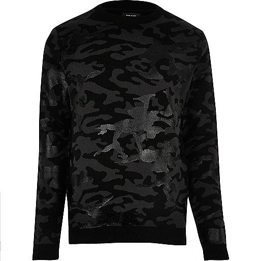 Black metallic camo sweater