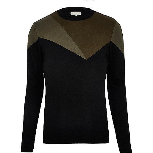 Black jumper with khaki block pattern