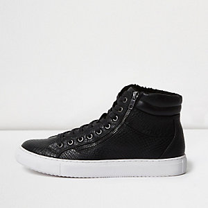 Black croc fleece lined hi tops