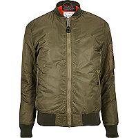 Dark green Schott MA1 bomber jacket