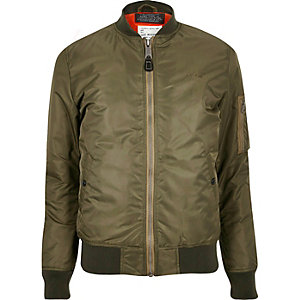 Dark green Schott MA1 bomber jacket