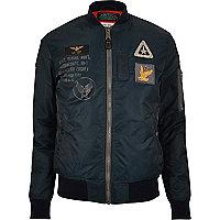 Navy Schott badge MA1 bomber jacket