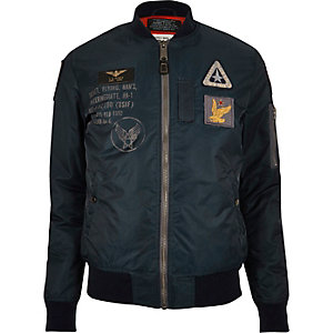 Navy Schott badge MA1 bomber jacket