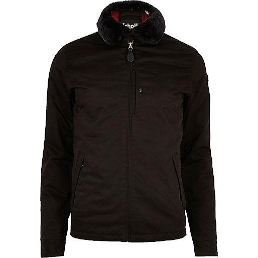 Schott – Schwarze Jacke mit Kunstfellkragen