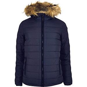 Navy Schott hooded coat