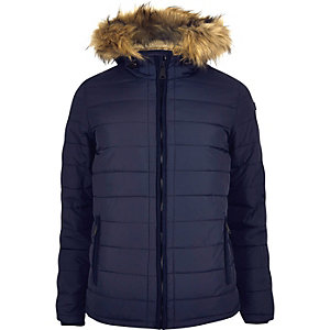 Navy Schott hooded coat