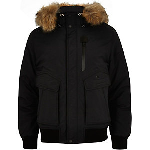 Black Schott faux fur hooded jacket