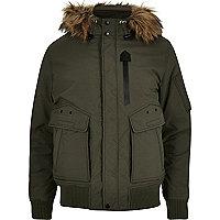 Schott – Jacke in Khaki mit Kapuze mit Kunstfellbesatz
