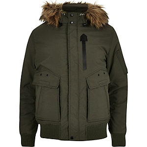 Khaki Schott faux fur hooded jacket