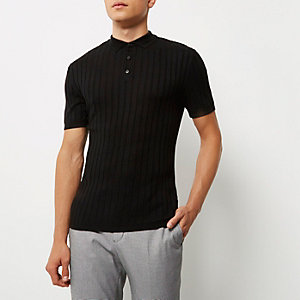 Black ribbed muscle fit polo shirt