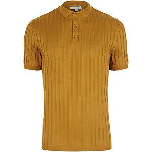Dark yellow ribbed muscle fit polo shirt