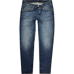 Blue paint splatter Jimmy slim tapered jeans