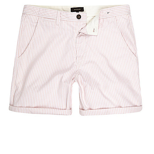 Pink stripe slim fit casual shorts